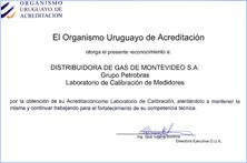 RECONOCIMIENTO AL LABORATORIO DE CALIBRACIÓN DE MONTEVIDEOGAS